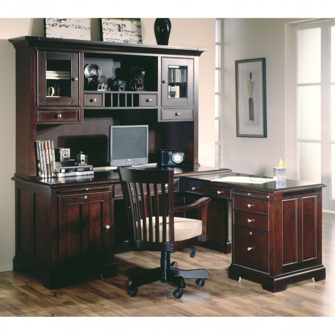 L Shaped Desk With Hutch And Drawers Plus Chair And Computer Set On An Home Office Room With White Wall And Wooden Floor Plus Window