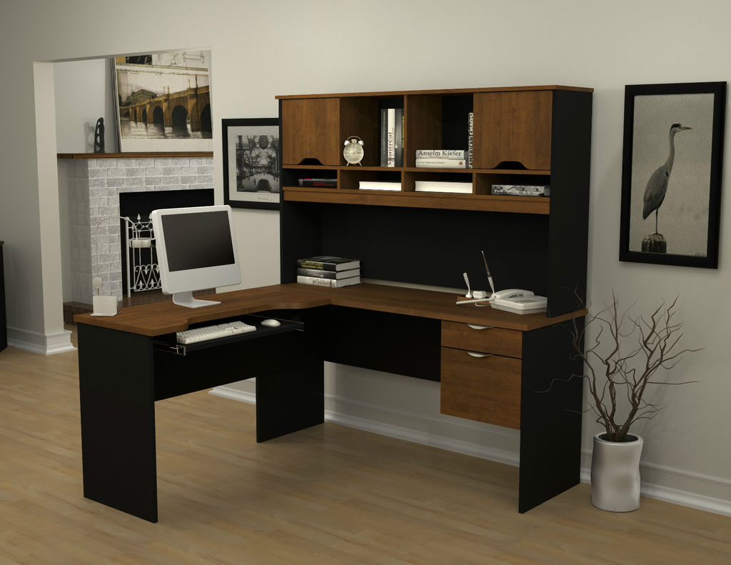 L shaped desk with hutch in brown and black plus computer set on an office home room with white wall and wooden floor