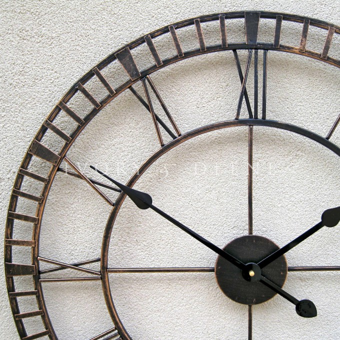 Large Metal Wrought Iron Hampton Oversized Wall Clock French Provincial