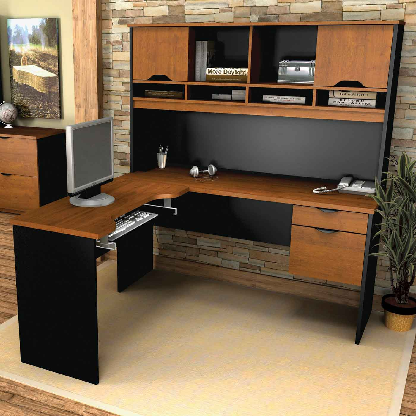 Large Surface L Shaped Desk with Hutch in black and brown color plus computer on wooden floor plus cream carpet for home office decor ideas