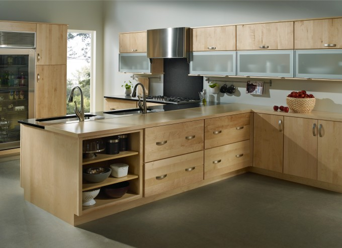 Light Wood Merillat Cabinets With Silver Handle Plus Sink And Oven For Kitchen Design Inspiration
