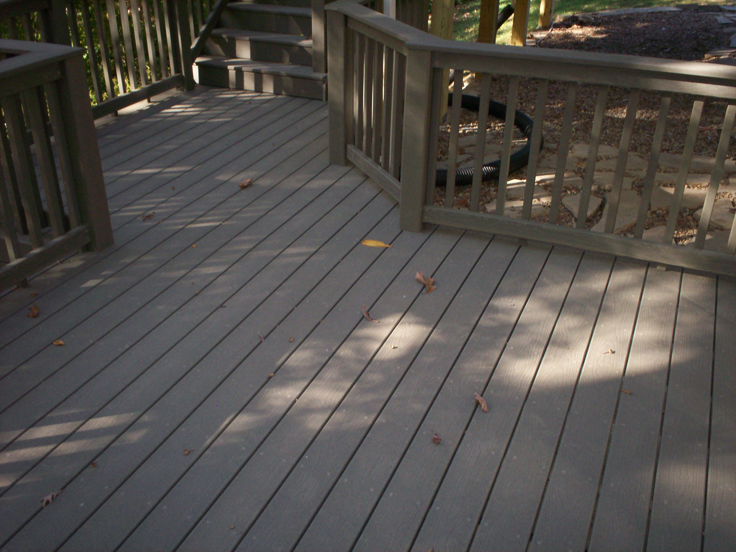 lightslategray evergrain decking matched with tan railing for patio decor ideas