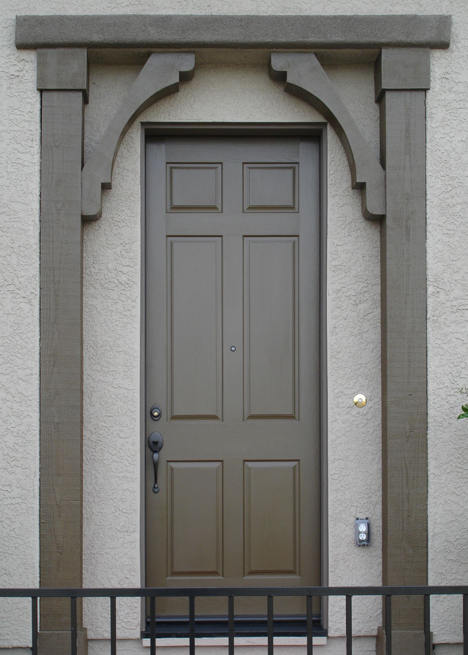lightslategray therma tru entry doors with black handle matched with gray wall ideas