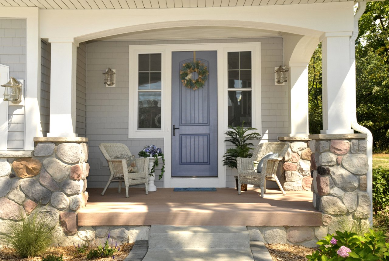 lightslategray therma tru entry doors with white window matched with gray wall ideas