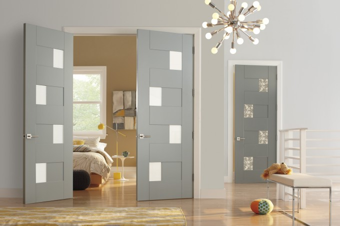 Lightsteelblue Trustile Doors With Silver Handle Matched With Lightcyan Wall And Wooden Floor Plus Chandelier Ideas