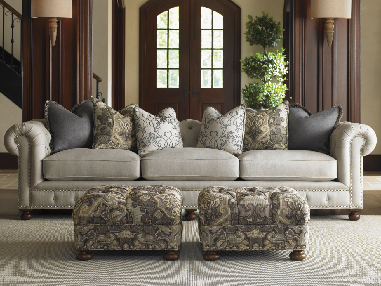 living room design with sprintz furniture with sofa and floral cushion plus wheat floor ideas