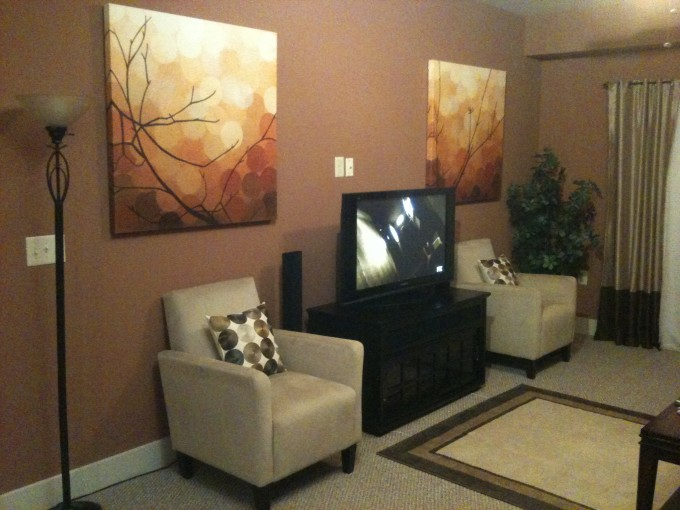 Living Room With Masland Carpet Plus Wheat Sofa Plus Picture On Orange Wall