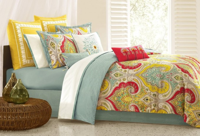Lovely Bedroom Decor With Colorful Bedding By Lilly Pulitzer Bedding And White Wall And Curtain