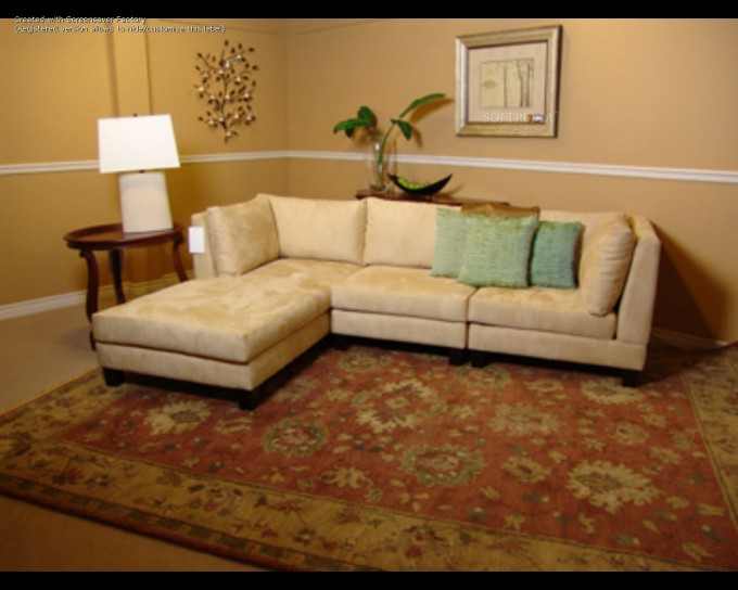 Lovely Cream Sectional Couches With Cushions On Tan Floor Plus Carpet Matched With Cream Wall For Inspiring Family Room Ideas