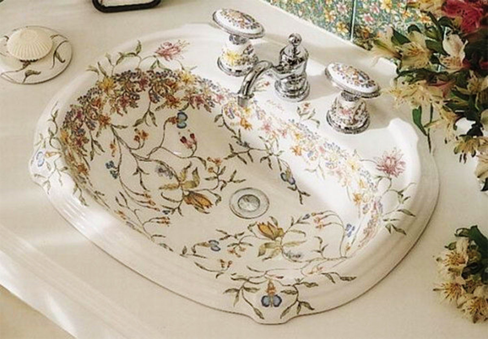 lovely floral kohler sinks with silver faucet for bathroom furniture ideas