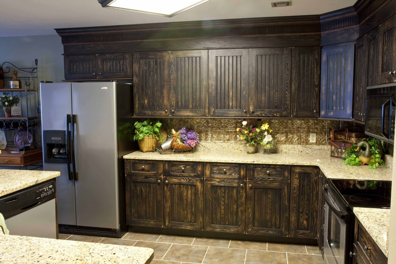 lovely Kitchen Cabinet refacing with cream countertop and silver frige plus tan floor for lovely kitchen ideas