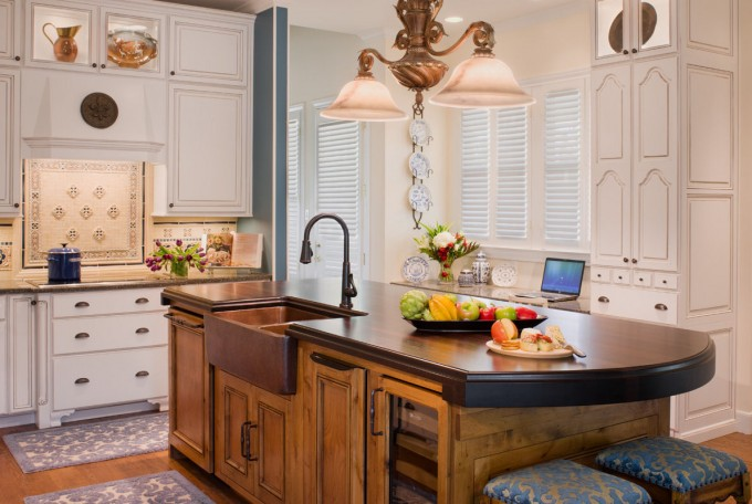 Lovely Kitchen With Butcher Block Countertops With Sink And Faucet Plus Chairs And Chandelier Ideas