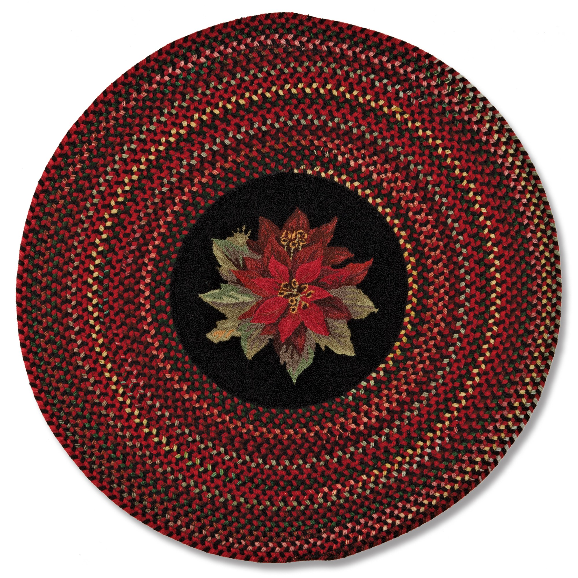 lovely round multicolor braided rugs with flower motif at center for charming floor decor ideas