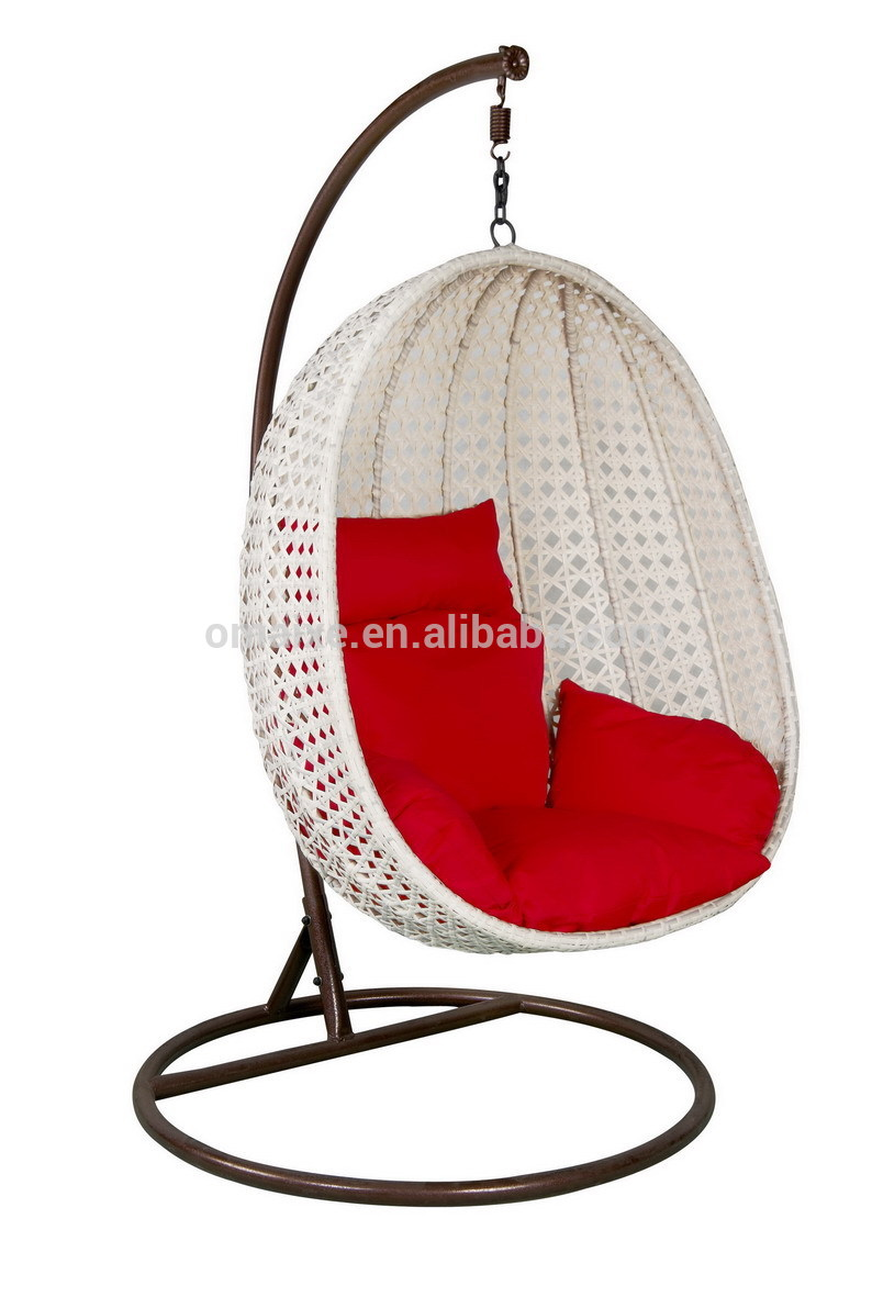 lovely swingasan chair in white with red cushions and brown stand ideas