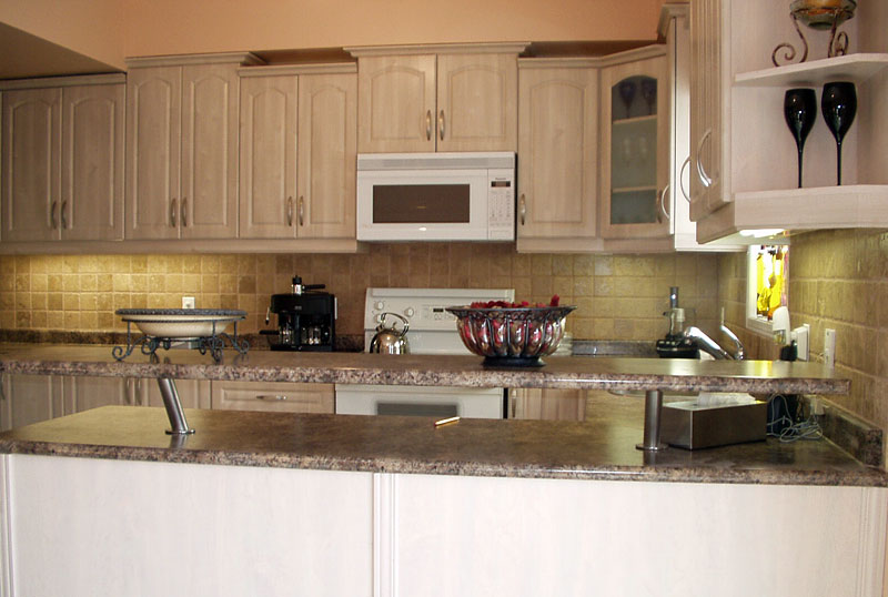 Lovely Wheat Kitchen Cabinet Refacing With White Oven And Stone Veneer  Panels Wall Plus Sink With