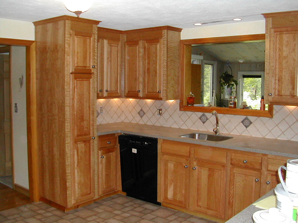 lovely wooden Kitchen Cabinet Refacing with sink under the mirror