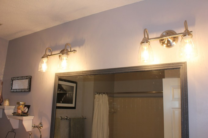 Lowes Bathroom Lighting With Four Lamps On The Wall Is Very Inspiring