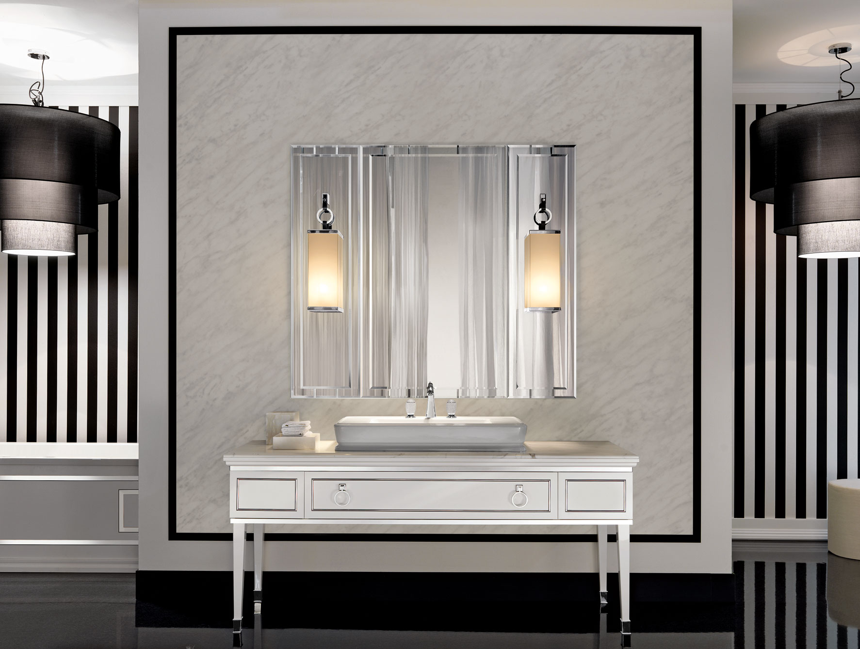 luxury bathroom with lowes medicine cabinets plus double lights and white sink