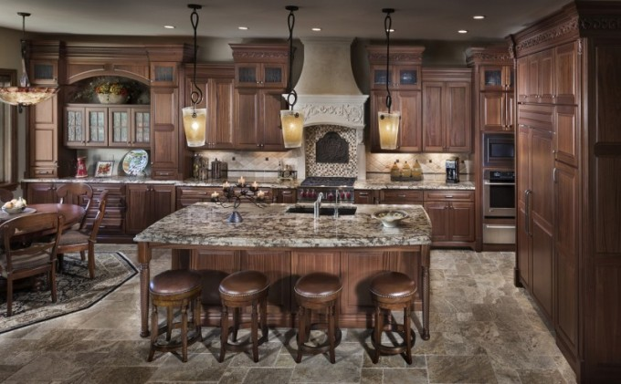 Luxury Brown Aristokraft Cabinets With Wheat Back Splash Plus Oven And Dining Table For Kitchen Decoration Ideas