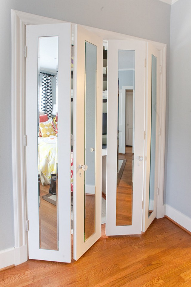 Attractive Luxury Folding Closet Doors With Mirror Ideas With Blue Wall And Wooden  Floor
