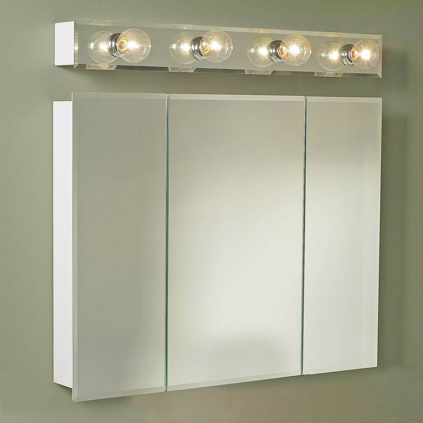 luxury lowes Medicine Cabinets With mirror door plus four lights on gray wall
