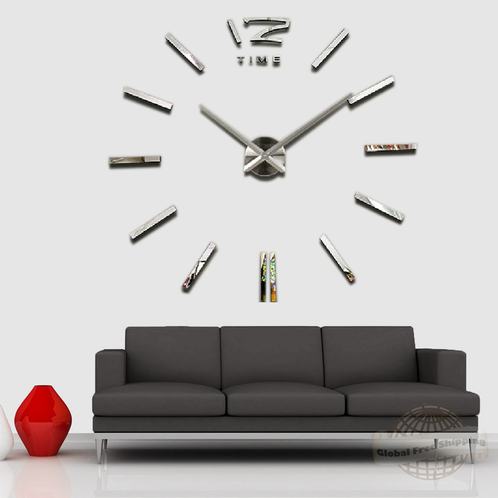 Luxury oversized Wall Clock for Living Room DIY 3D Home Decoration