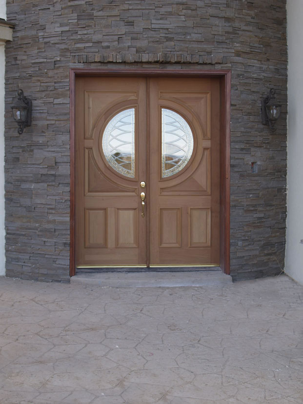 luxury peru reliabilt doors with golden handle plus half round ornament ideas matced with bricked wall