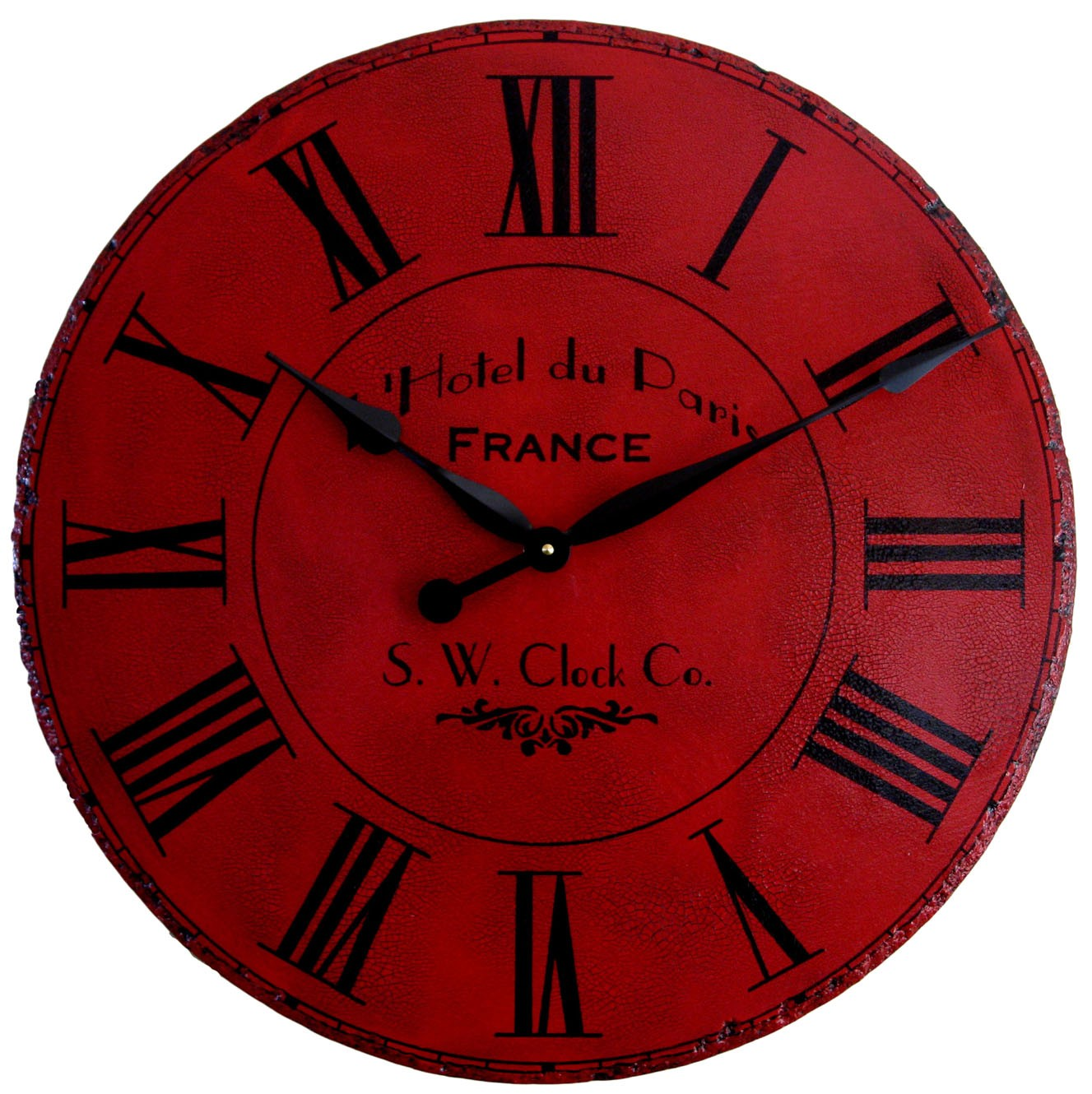 maroon round oversized wall clock with golden hand and roman numeral ideas