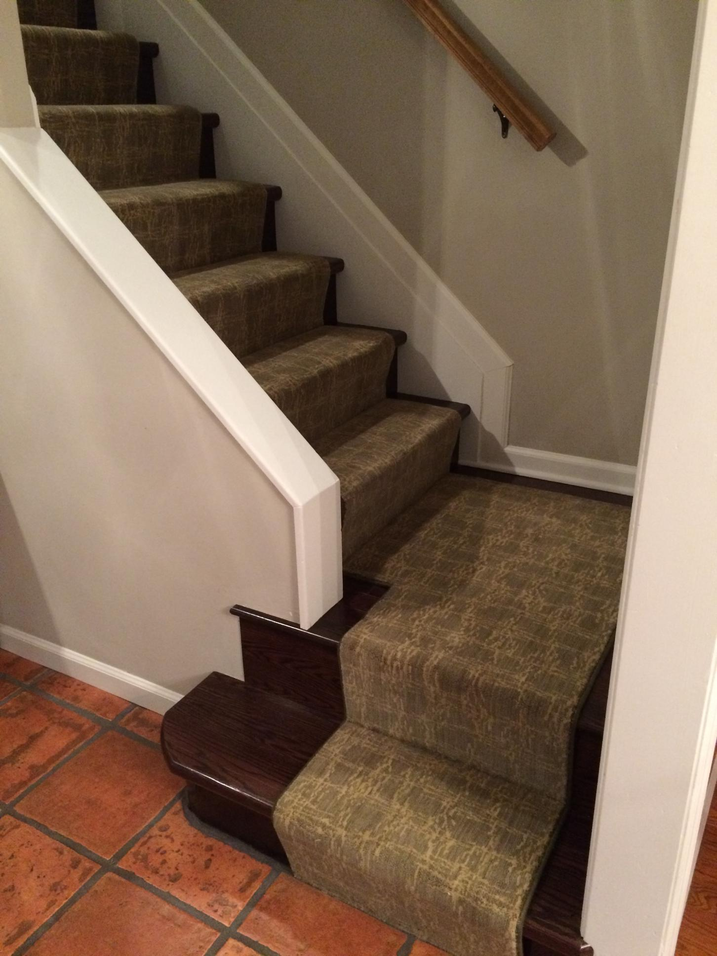 Masland Carpet for wooden stairs plus gray wall ideas