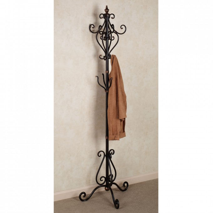 Metal Standing Coat Rack In Black With Curved Ornament