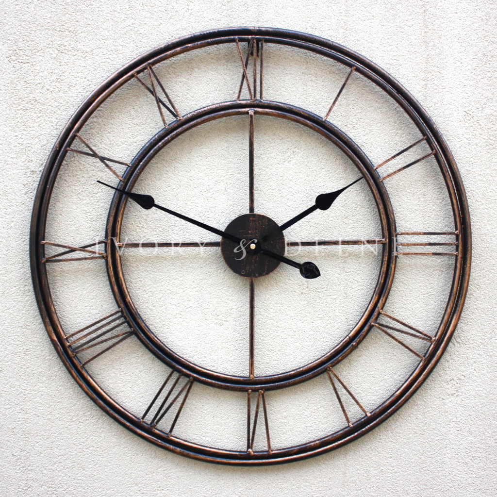 Metal Wrought Iron oversized Wall Clock French Provincial Roman