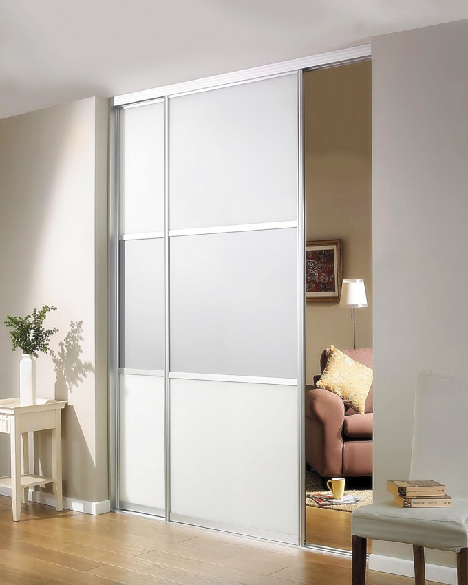 Minimalist White Reliabilt Doors In Sliding Design Matched With White Wall And Wooden Floor Ideas