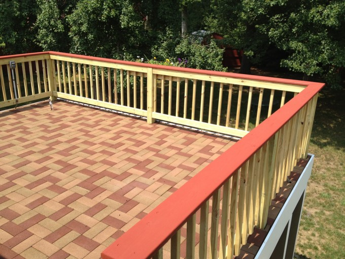 Mocca And Indianred Azek Pavers Matched With Yellow Railing And Red Handhold For Toproof Ideas