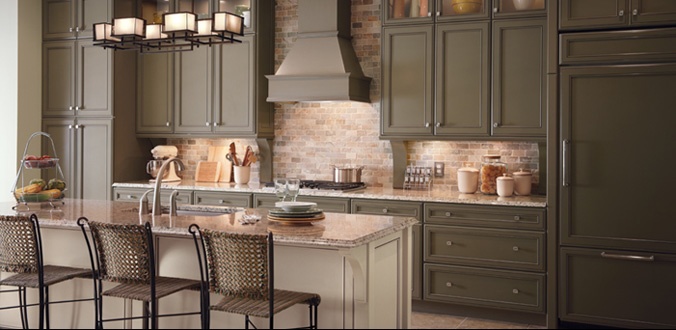 mocca aristokraft cabinets with oven and chimney plus brick wall for kitchen decoration ideas