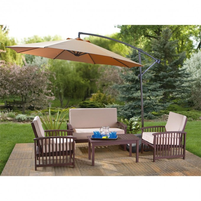 Mocca Cantilever Umbrella With Sofa Set For Back Yard Decor Ideas