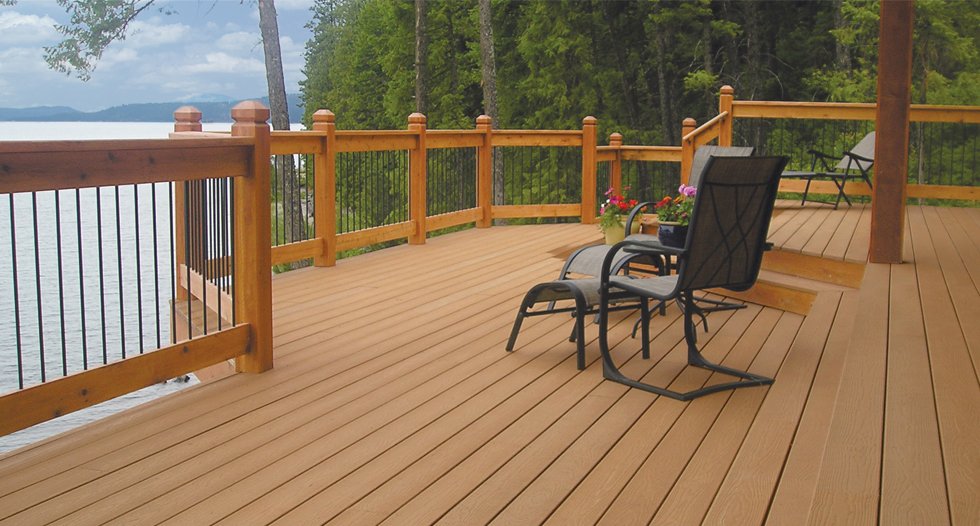mocca evergrain decking matched with goldenrod and black railing plus chairs for wonderful deck ideas