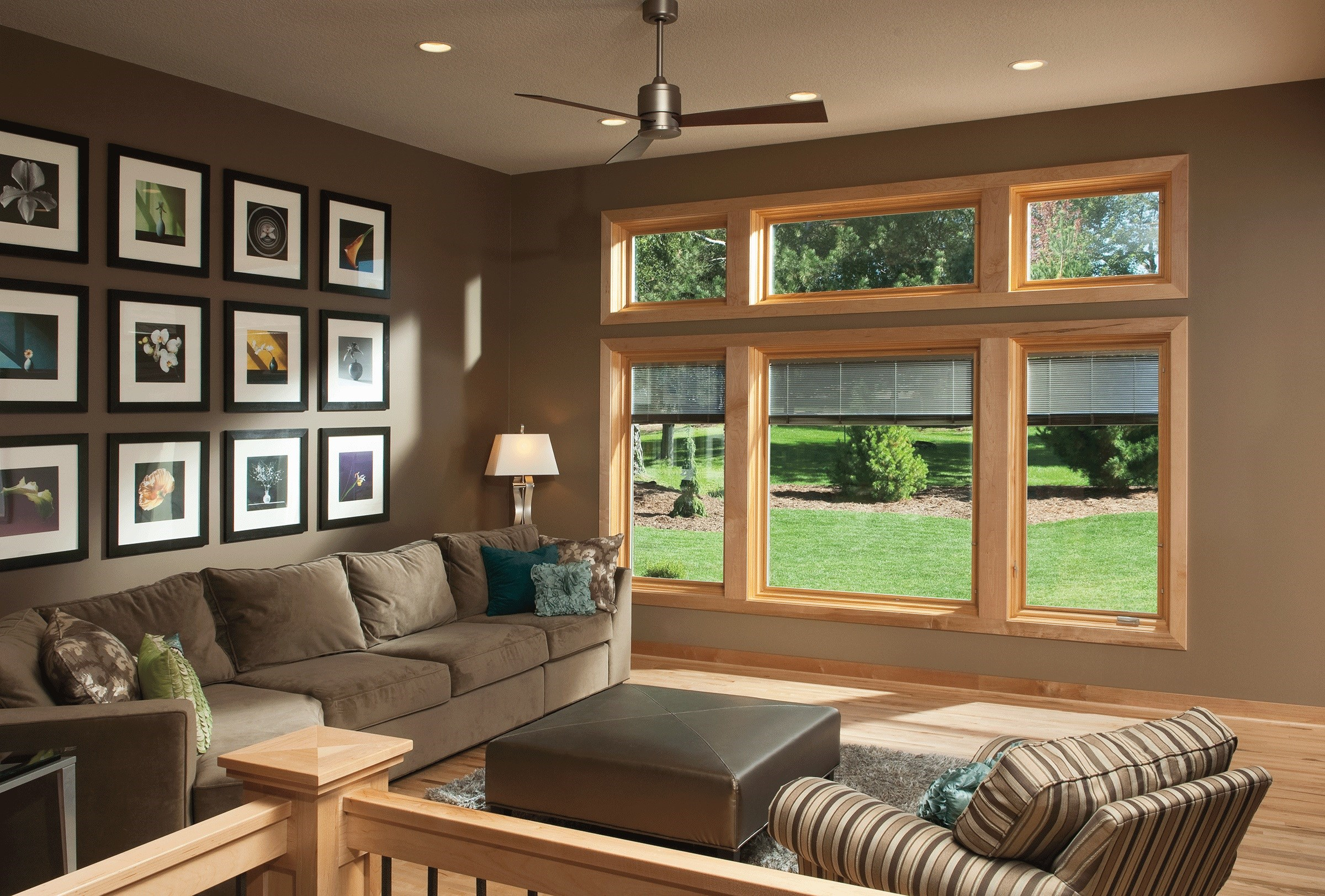mocca Pella Windows matched with tan wall and tan sofa set plus fan ceiling ideas
