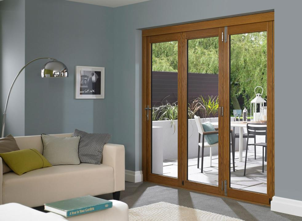 mocca reliabilt doors with silver handle matched with gray wall plus sofa set and floor standing lamp ideas