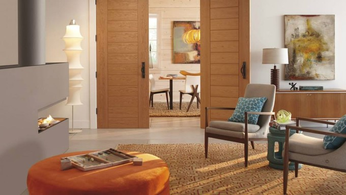 Mocca TruStile Doors With Black Handle Matched With White Wall And Wheat Ceramic Floor Plus Carpet Ideas