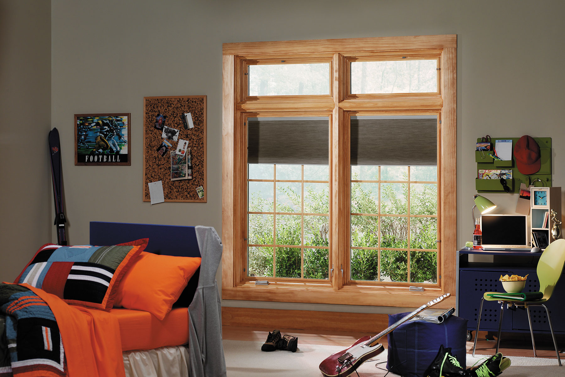 moccasin pella windows matched with grey wall plus picture and desk for teens bedroom decor ideas