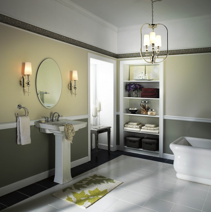 Modern Bathroom With Double Lowes Bathroom Lighting On Olive Wall Plus A Mirror And A White Sink Ideas