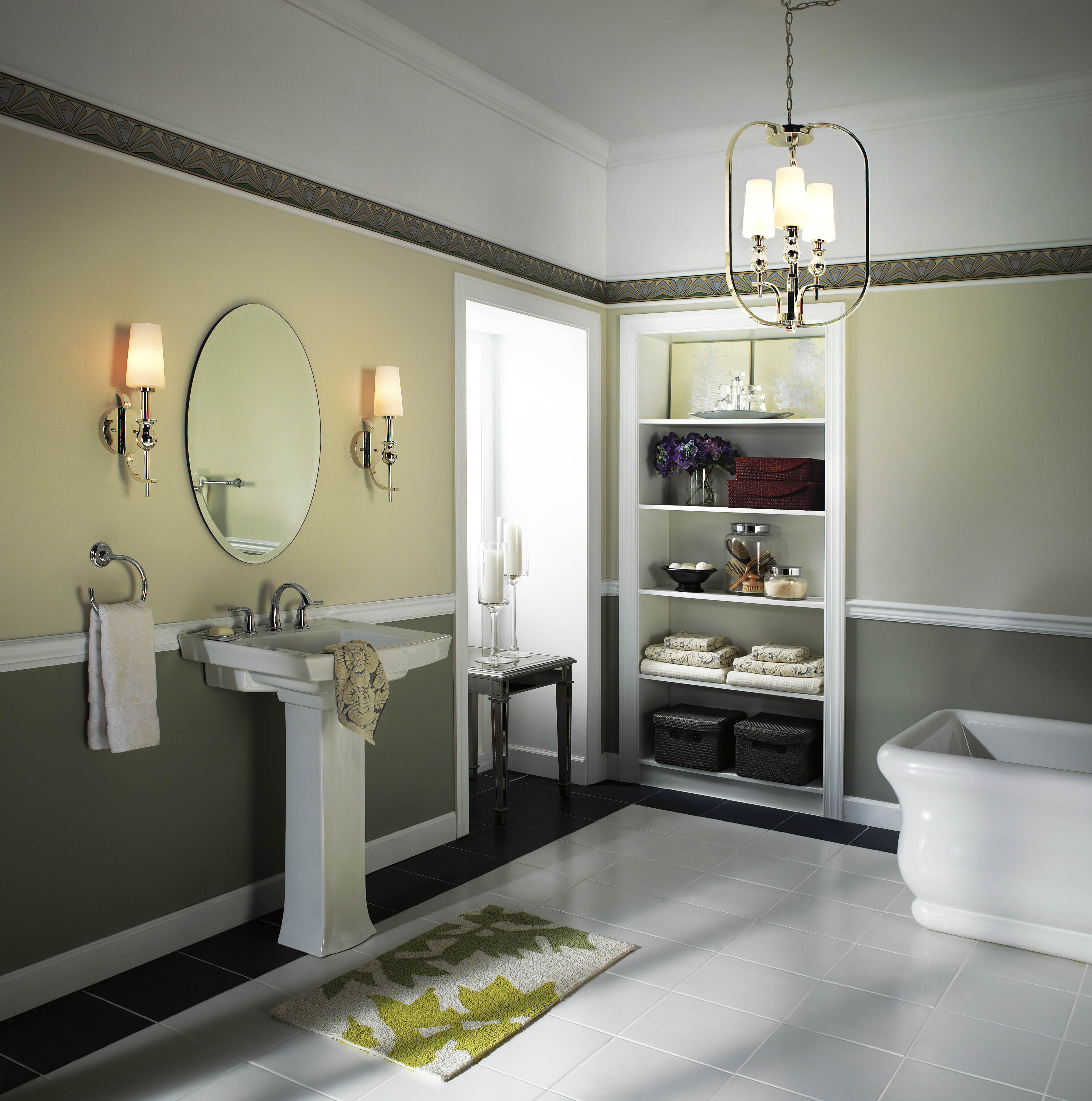 Modern Bathroom With Double Lowes Bathroom Lighting On Olive Wall Plus A  Mirror And A White