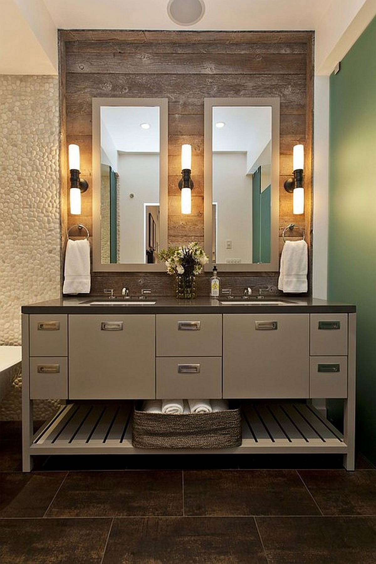 Modern Bathroom with modern design of lowes bathroom lighting plus double mirror and sink with bathroom cabinet ideas