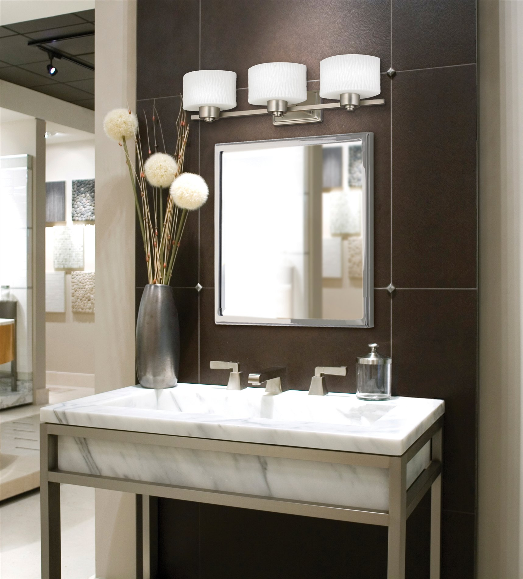 Modern Bathroom With Triple Lowes Bathroom Lighting Plus Mirror And Sink  Plus Faucet Ideas
