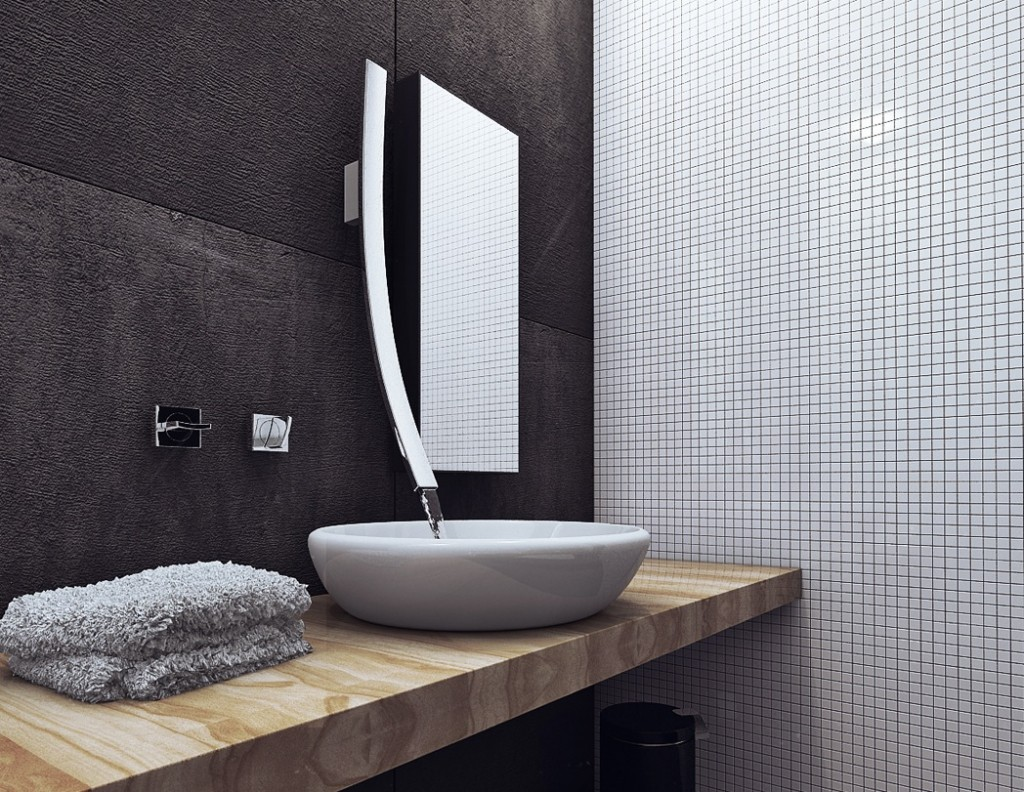 modern Faucet Direct design matched with white bowl sink on wooden countertop plus mirror for bathroom decor ideas