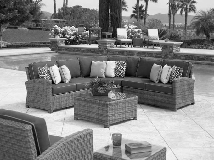 Modern FrontGate Outdoor Furniture Ideas With Sofa Sets And Cushions Near The Swimming Pool