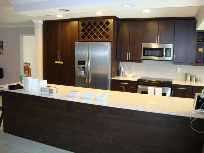 Modern Kitchen Cabinet Refacing With White Countertop Plus Silver Frige And Oven For Modern Kitchen Ideas