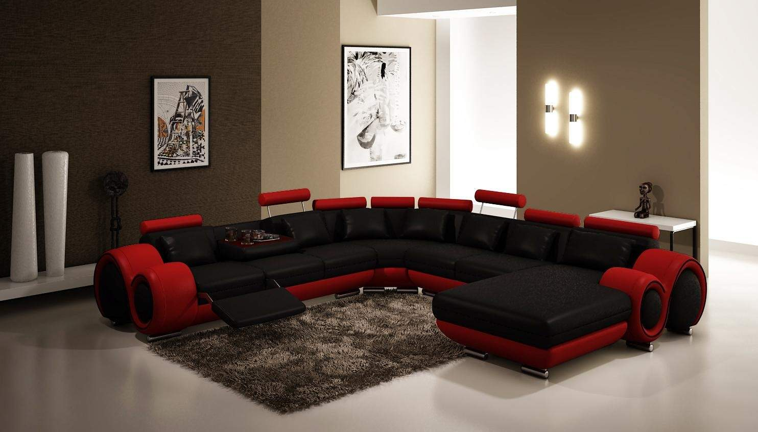 modern sectional couches i black and red theme on white ceramic floor plus carpet matched with