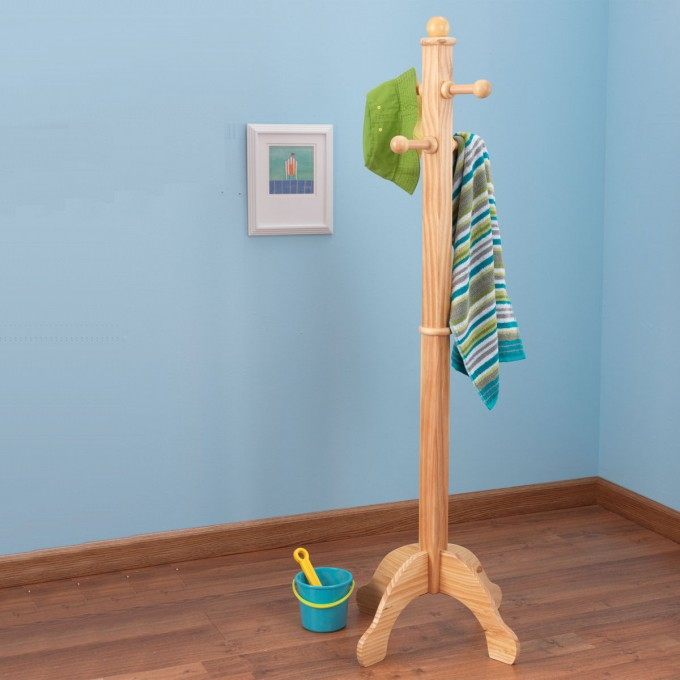 Modern Standing Coat Rack Design With Four Hooks For Kids Furniture Room Ideas With Blue Wall And Wooden Floor