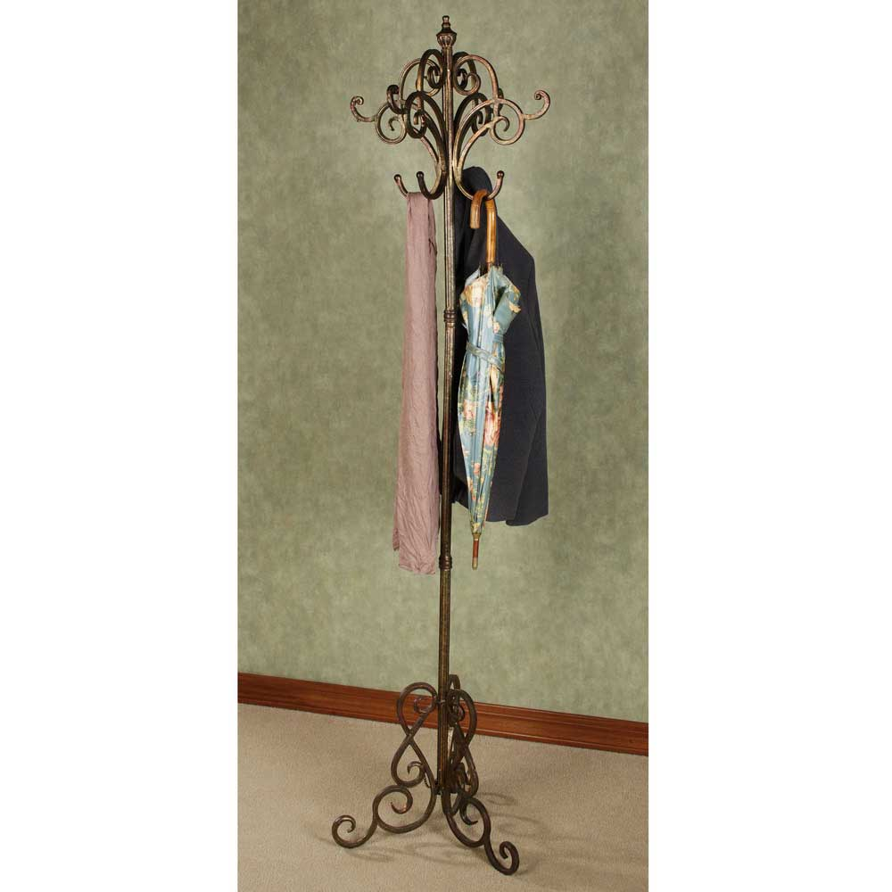 Modern Standing Coat Rack with coat and umberella hanged on it